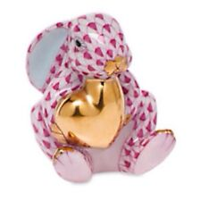 Herend Bunny With Heart Raspberry Hand Painted Porcelain 24K Gold Trim New