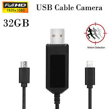 1080P 32GB Spy USB Cable Camera Phone Charge Cable Motion Detect Pen Camcorder