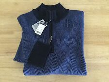 $150 DANIEL CREMIEUX MEN L 100% Merino Wool Zip Neck Navy Blue SWEATER NWT