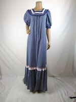 Holo Holo Prairie Dress MuuMuu Vintage 70's Size 12 Blue Floral Eyelet Hawaii