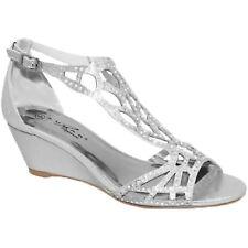 FLC111 Denton Rhinestone Strap Diamante Peep Toe Wedge Sandals Clutch Bag