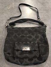 Coach-Black-Kristin-Sateen-Signature-Op-Art-14753-Convertible-Crossbody-Handbag