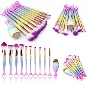 11Pcs Mermaid Makeup Brushes Set Foundation Blusher Eyeshadow Cosmetic Brush UK