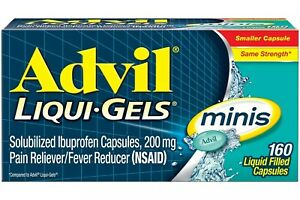 New Advil Liqui-Gels minis (160 Count) Pain Reliever / Fever Reducer 200 Mg