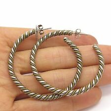 Vtg Mexico Laton 925 Streling Silver Twisted Signed Hoop Earrings
