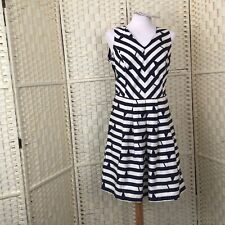 Lavand Cotton Blue cream nautical style pocketed dress BNWT size 14