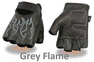 Black Leather FINGERLESS Gloves GREY FLAMES Gel Palm Motorcycle Biker Rider