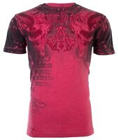 ARCHAIC by AFFLICTION Mens T-Shirt NIGHTWATCHER Skulls RED BLACK Biker $40
