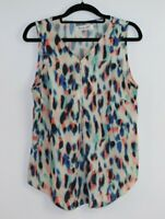 Sunny Girl Women's Short Multi Color Sleeveless Zip Front High Neck Top Size 10