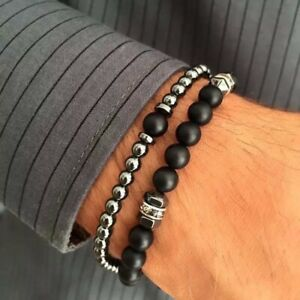 2pcs Set Men's Fashion Stone Bead Charm Bracelet Matte Black