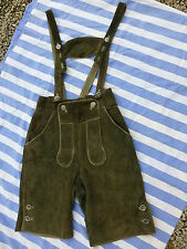 Damen-Leder-Trachtenhose - kurz - grün - Größe 36 - mit Hosenträgern