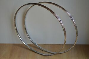 "Vintage 1970's Pair of Chromed Steel Wheel Rims 36 Holes 27"" x 1 1/4"""