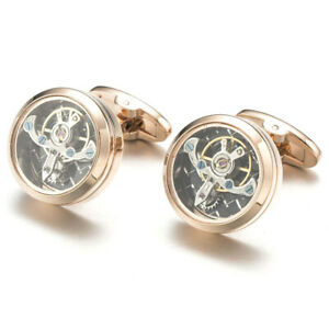 Cufflinks Tourbillon Rose Gold Steampunk Watch Mechanism Wedding Cuff Links