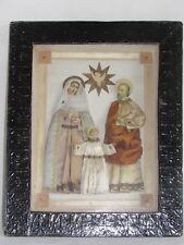08E22 ANCIEN CADRE EX VOTO DIORAMA RELIGIEUX NAPOLÉON III SAINTE FAMILLE XIXe