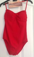 M&S Red Bandeau Swimsuit Size 12 NEW