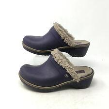 Crocs Split Toe Faux Fur Lined Clog Heel Mules Suede Leather Purple Womens 10