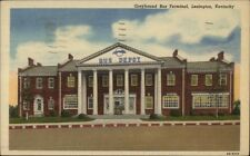 Lexington KY Greyhound Bus Terminal Linen Postcard