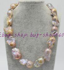 "Natural Beautiful Irregular 15-20mm South Sea Baroque Pearl Necklace 18"""