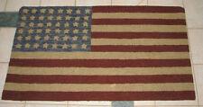 """PRIMITIVE HOOKED RUG PATTERN ON MONKS """"HUGE AMERICAN FLAG"""""""