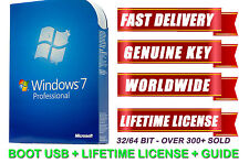 New Windows 7 Pro Professional 32/64bit Licence Bootable USB Key Code Genuine