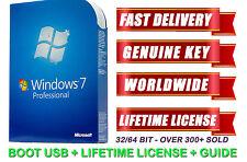 New Windows 7 Pro Professional 32/64bit Licence Bootable USB Key Code Genuine
