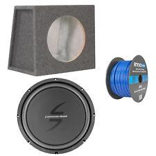 "Lightning Audio 12"" 4 Ohm Subwoofer, Scosche Subwoofer Enclosure, Speaker Wire"
