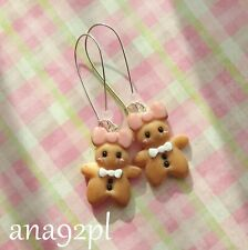 Christmas earrings cookie gingerbread fimo clay earrings bow handmade GIFT new
