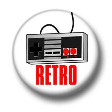 Retro Video Games 1 Inch / 25mm Pin Button Badge Controller Joystick Arcade Fun
