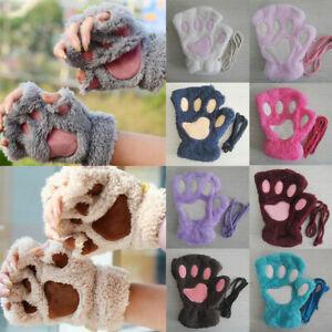 Winter Cute Knitted Faux Fur Bear Paw Claw Gloves Women Plush Warm Hand Mittens