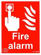 "Fire Alarm Warning Sign Rigid PVC RPVC 200 x 150mm, 8 x 6"" PM206"
