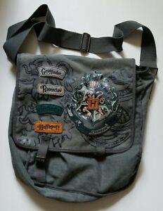 Harry Potter CROSSBODY MESSENGER BAG~School Crests & Names On Front~Gray Denim