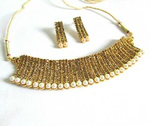 Indian Bollywood Jewelry Rose Gold Ethnic Fashion Plated Bridal Necklace Set