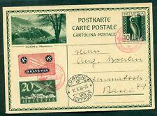 Switzerland, 1930 Swiss Flight, pretty airmail franking on 10c postal card