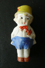 """Vintage 1920s Japan Bisque Girl Holding Book Doll Figure 2 7/8"""" Tall"""