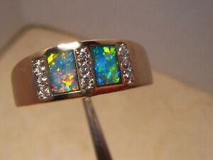 Brilliant  Mens Opal & Diamond  Ring Heavy 14 k Gold size 12