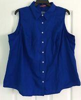 Jessica London Women's Plus Size 24 Blue Sleeveless Top Shirt Button Down NWOT