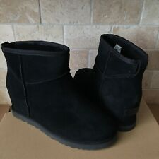 UGG CLASSIC FEMME MINI BLACK SUEDE WEDGE ANKLE BOOTS BOOTIES SIZE 9.5 WOMENS