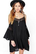 Boohoo Clover Crochet Insert Open Shoulder Dress Black Size UK 10 DH077 PP 25