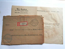1943 ORIGINAL GERMAN COVER + OFFICIAL LETTER REGISTERED FELDPOST OBERSCHLESIEN