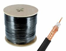 1000FT RG6 Coaxial Cable Wire Quad Shield 18AWG Black Coax Satellite TV
