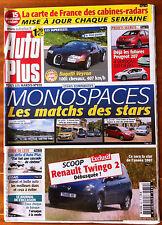 AUTO PLUS du 4/07/2006; Monospaces, le matchs des stars/ Bugatti Veyron/ 207