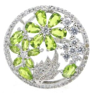 SheCrown Lovely Flowers Shape Green Peridot CZ Woman's Gift Silver Ring 8.5
