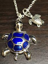 "Beach Sea Turtle Blue & Silver Charm Tibetan Silver 18"" Necklace B19"
