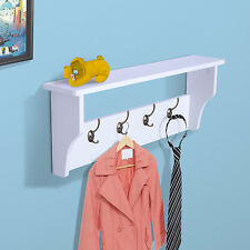HOMCOM Entryway Wall Mount Coat Rack Hat Hanger Organizer Shelf 4 Hook White