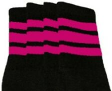 "22"" KNEE HIGH BLACK tube socks with HOT PINK stripes style 1 (22-02)"