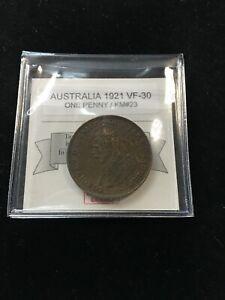 1921  Australia, One Penny, Coin Mart  Graded**VF-30**KM#23