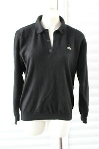 👺 SIZE 4 LACOSTE BLACK WOOL COLLARED LONG SLEEVE POLO SWEATER JUMPER MENS
