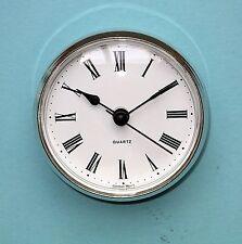 MEGA-QUARTZ 72mm silver BEZEL Quartz Clock  insert movement white Roman dial