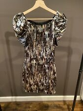 AX PARIS PRINT DRESS WITH SHOULDER DETAIL SIZE 10