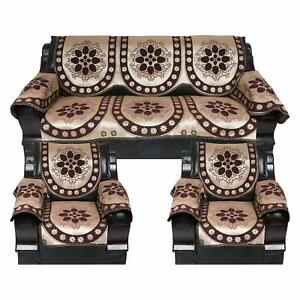 Brown Handmade Sofa Cover Set of 5 Seater with 6 Arm 12 Pcs Home Decor